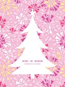 Vector pink abstract triangles Christmas tree silhouette pattern frame card