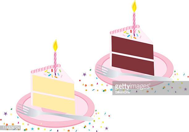 vector pink birthday cake with candle - birthday cake stock illustrations, clip art, cartoons, & icons
