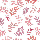 Vector Pink Floral Seamless Pattern. Decorative Plant Background. Fabric Ornament texture with leaves and flowers.