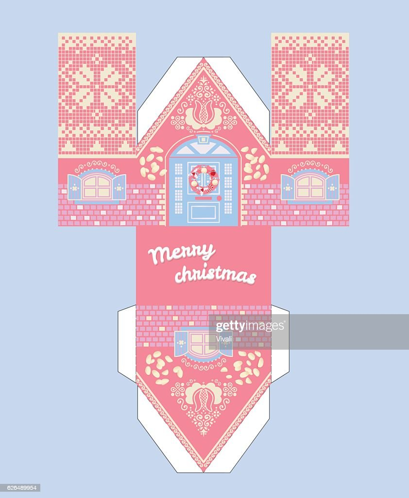 Vector Pink Gingerbread House Template Cute Printable Gift With