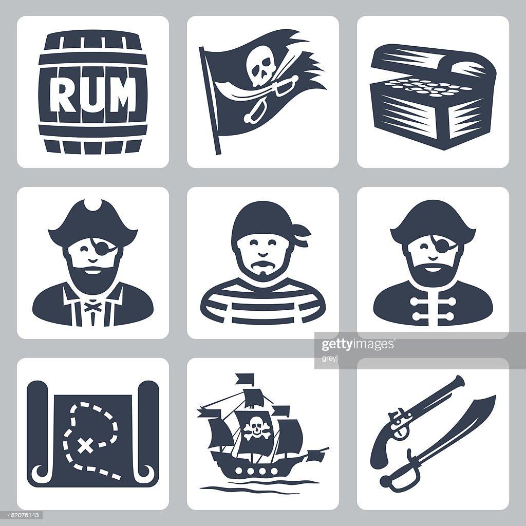 Vector pirates, piracy icons set