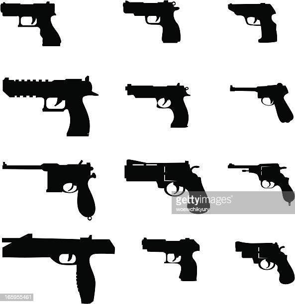 vector pistols - handgun stock illustrations