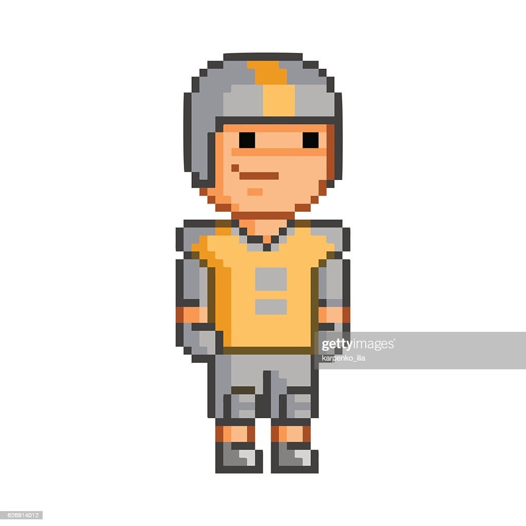 Vector Pixel Art American Football Player High Res Vector