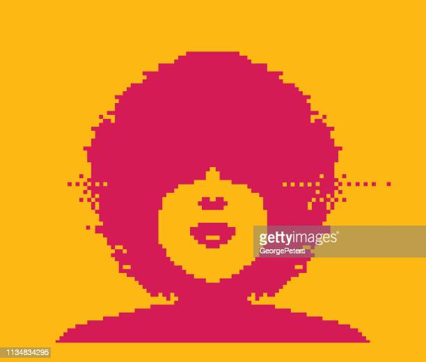 vector pixel art of a woman with an afro hairstyle - black civil rights stock illustrations, clip art, cartoons, & icons