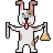 vector pixel art scientist dog