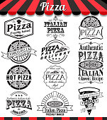 Vector pizza badges stickers and labels food set.