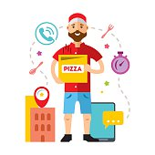 Vector Pizza Delivery. Flat style colorful Cartoon illustration.