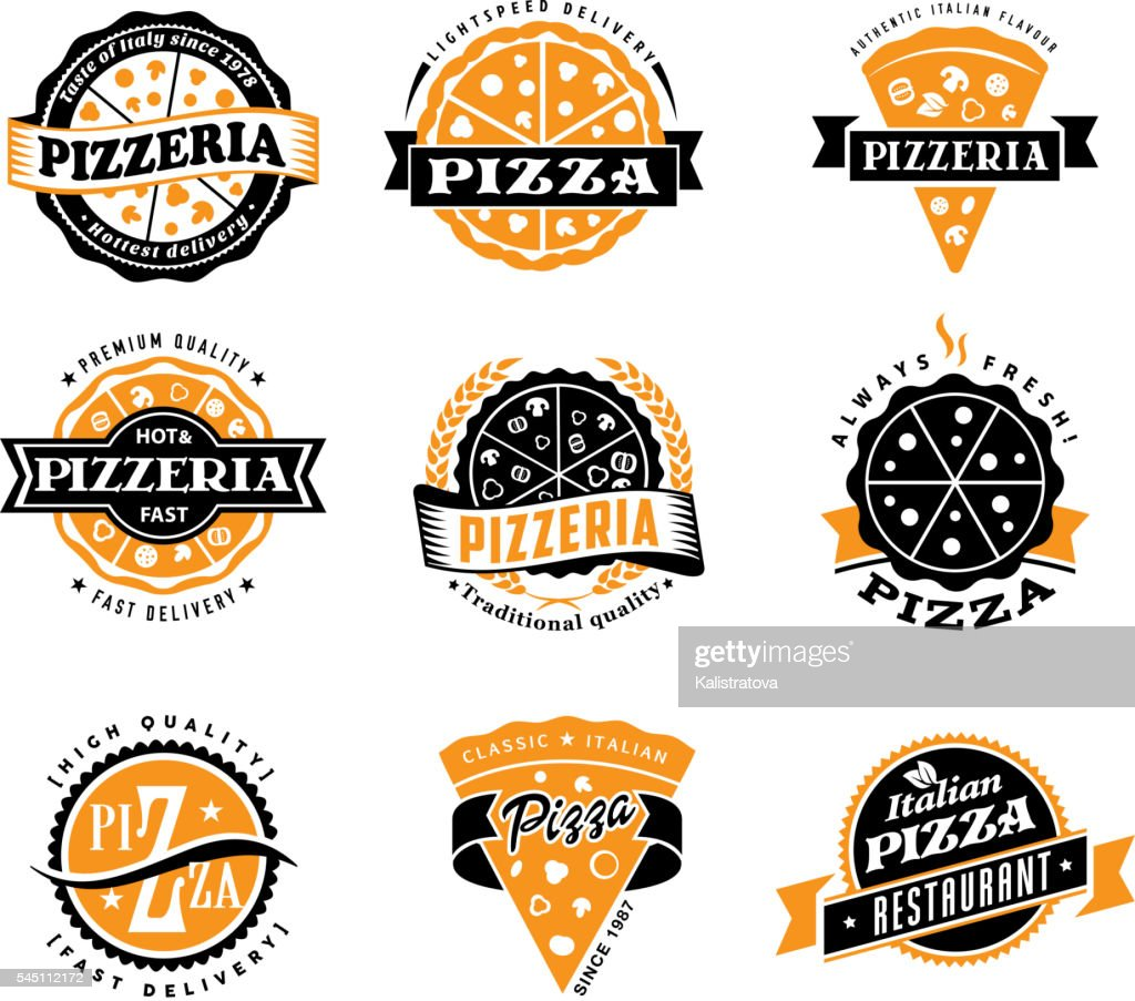 Vector pizza labels set