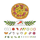 Vector pizza set,collection isolated on a white background.