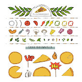 Vector pizza set,collection over white. Pizza ingredient