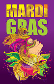 Vector placard with profile woman face in carnival mask with outline golden peacock feathers, ornate collar and colorful beads on the violet background. Design for Mardi Gras.