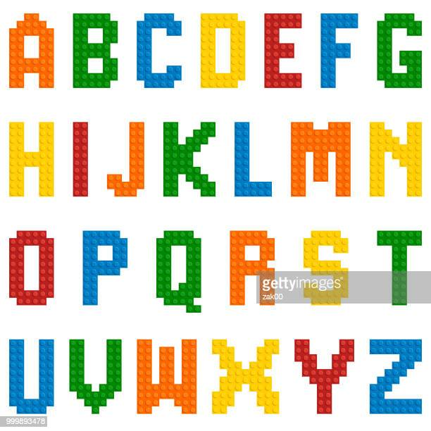 vector plastic toy alphabet - brick stock illustrations