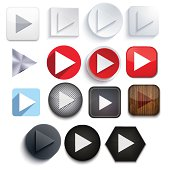 Vector play icon set on white background. Eps10