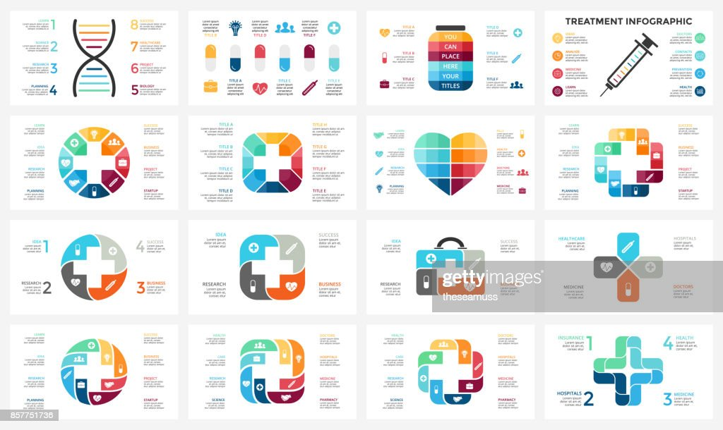 Vector plus infographic, medical diagram, healthcare graph, hospital presentation, emergency chart. Medicine doctor logo. Medication pills treatment. DNA science. Concept with 4, 8 options, parts, steps, processes
