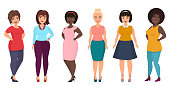 Vector plus size woman fashion. Curvy, overweight female girl in casual dress clothes.