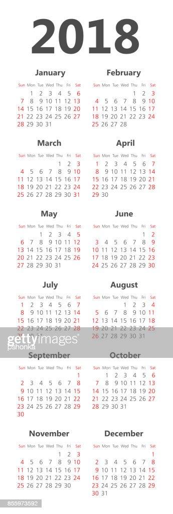 Vector pocket 2018 year calendar