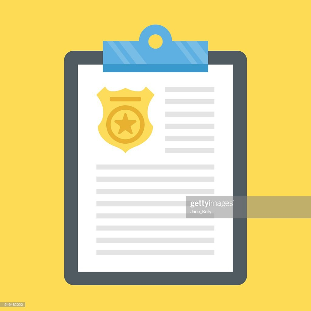 Vector police report clipboard, police badge. Flat design vector illustration