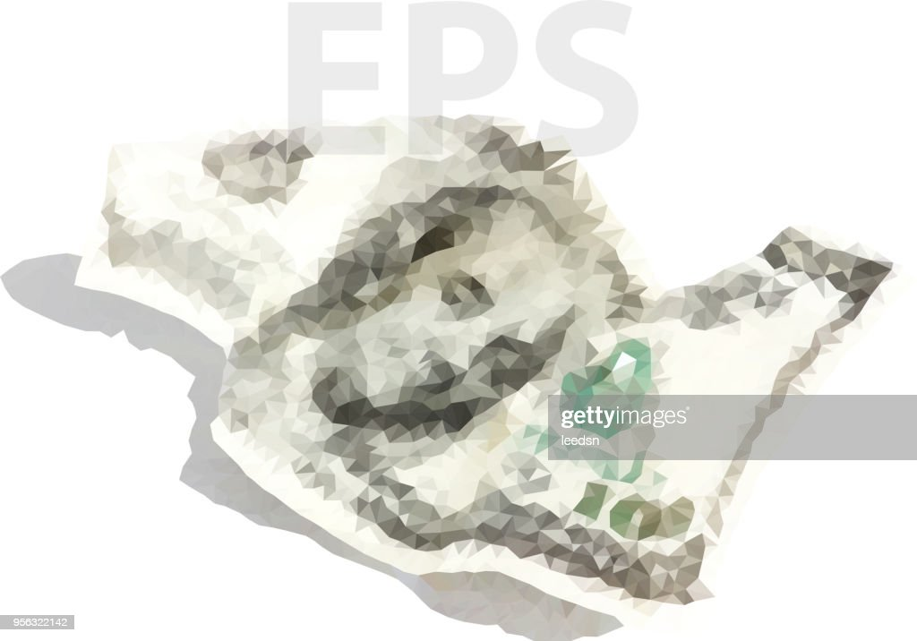 Vector polygonal dollars concept. Crumpled one hundred dollars illustration
