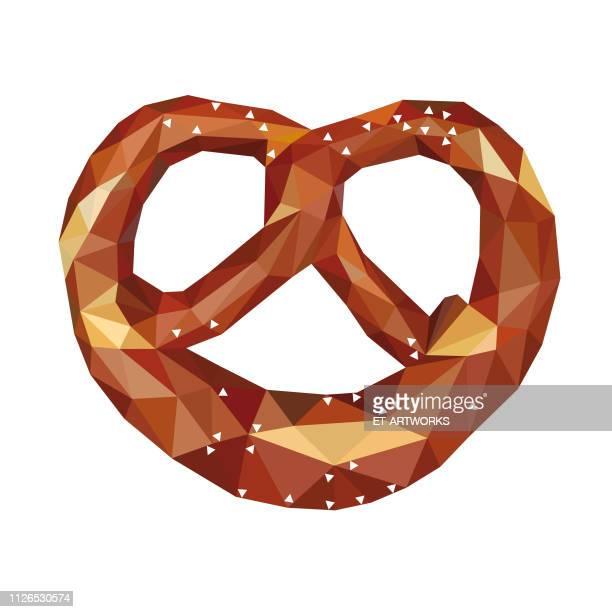 vector polygonal pretzel - pretzel stock illustrations, clip art, cartoons, & icons