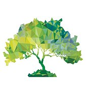 vector polygonal silhouette of green tree