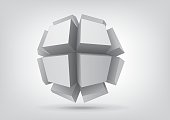 Vector polyhedron with rectangular extruded faces