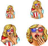 Vector pop art avatar, icon of pin up sexy girl in 3d glasses inside the cinema with popcorn, soda. icon for chat, blog