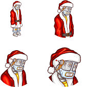 Vector pop art avatar of Christmas robot