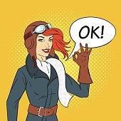 Vector pop art style illustration of retro woman pilot
