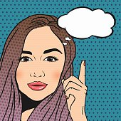Vector Pop-art brunette woman thinking and pointing upwords, speech bubble