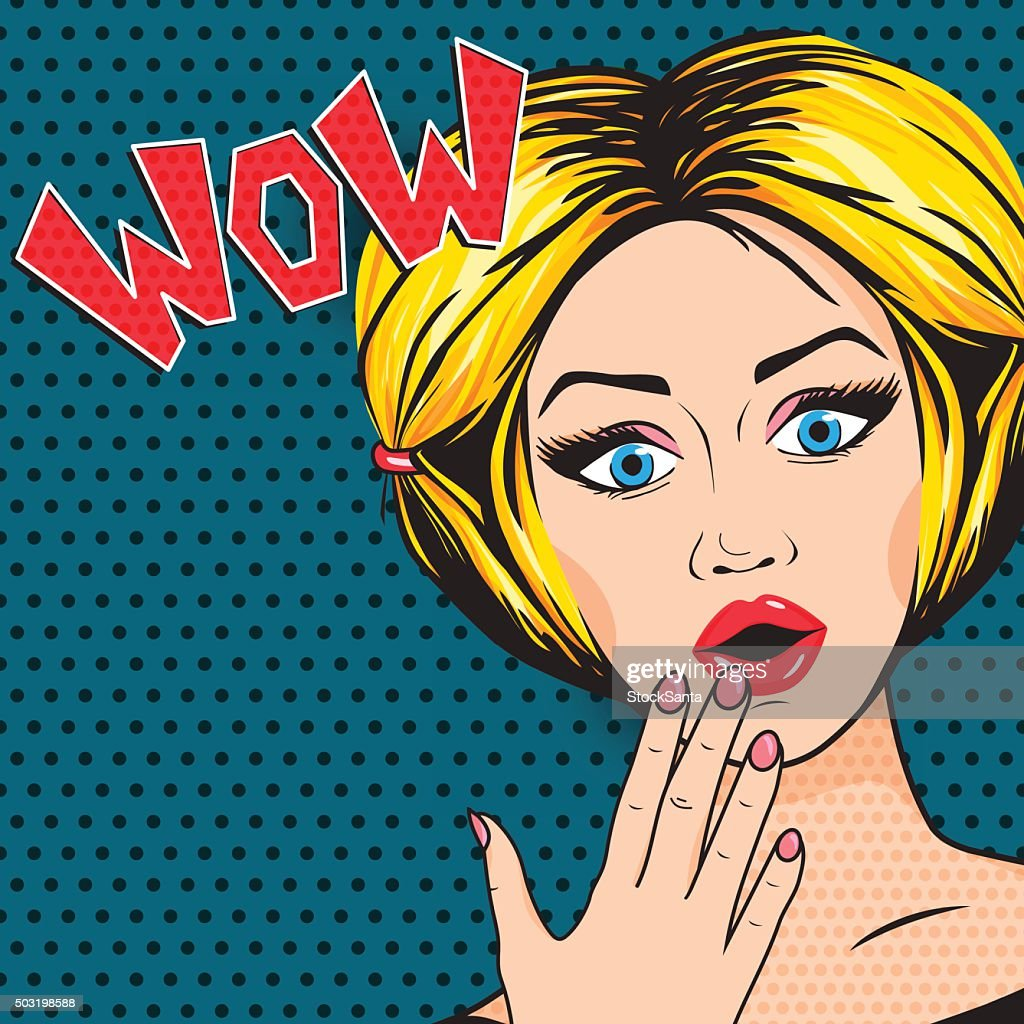 Vector Pop-Art Shocked Woman with open mouth, WOW message comic