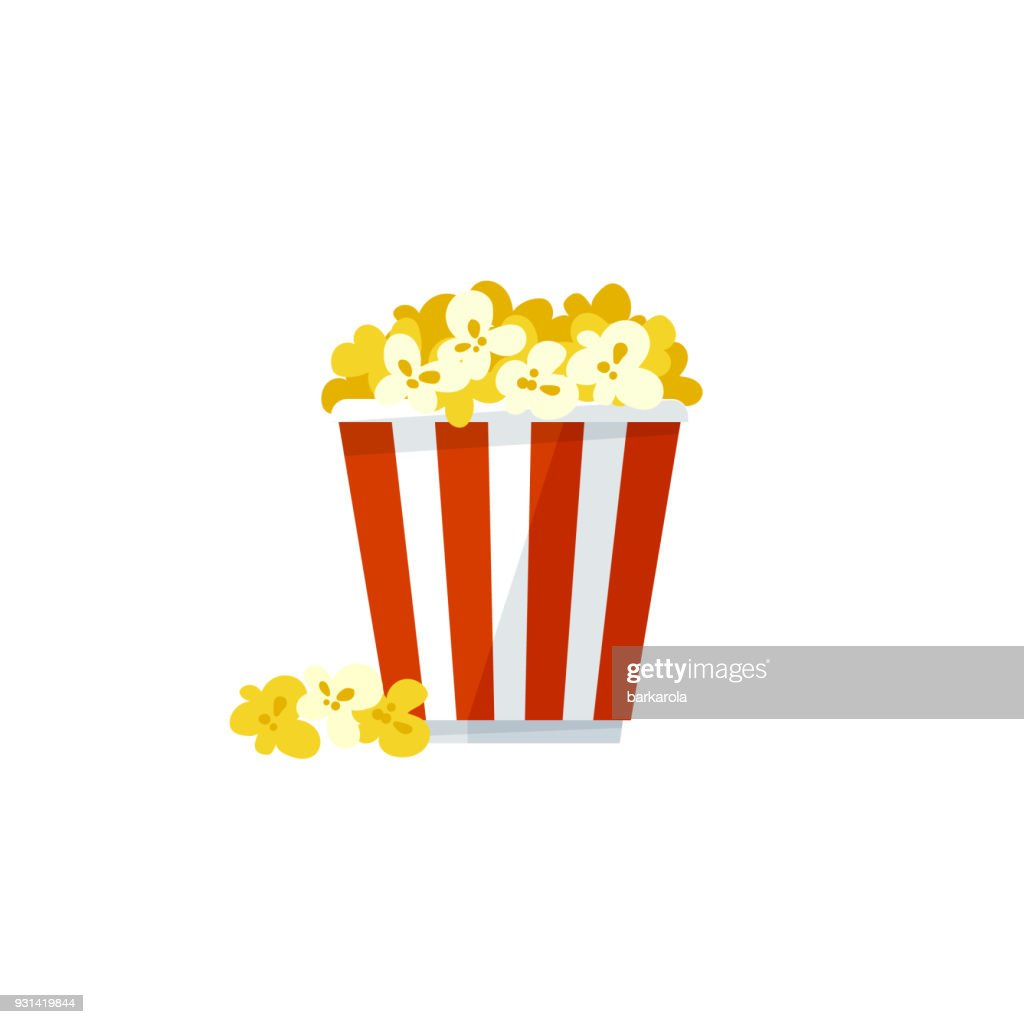 Vector popcorn icon on a white background
