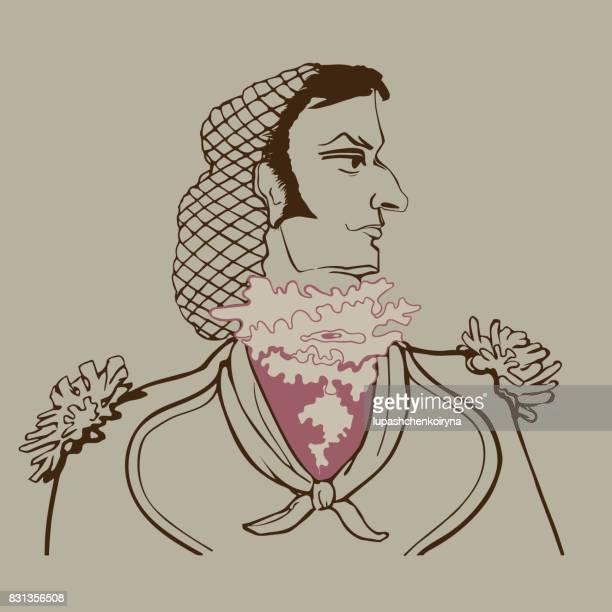 Vektor-Porträt im Profil des Figaro