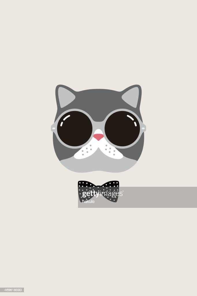 Vector portrait of a cat with bow tie and sunglasses