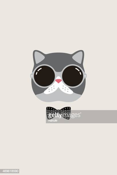 illustrations, cliparts, dessins animés et icônes de mode portrait de chat, messieurs de chat - chat humour