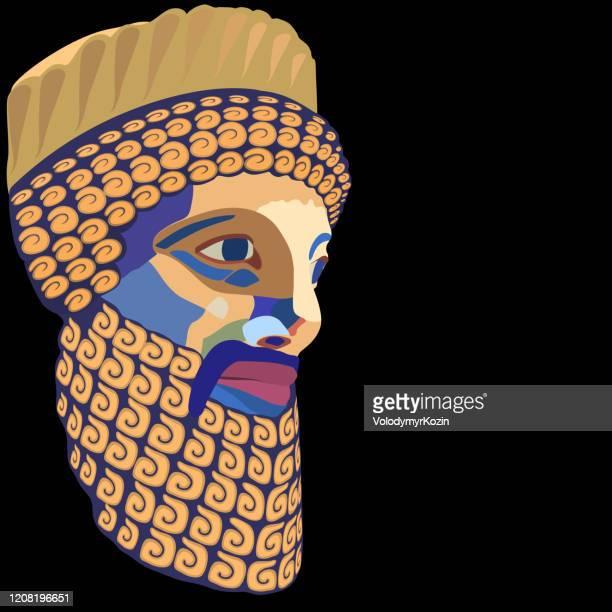 ilustrações, clipart, desenhos animados e ícones de retrato vetorial de um rei antigo com uma barba exuberante decorativamente colocada e bigode estilizado como um mosaico colorido - cartoon characters with curly hair