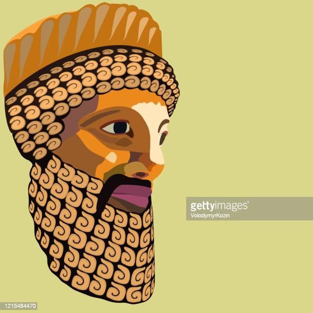 ilustrações, clipart, desenhos animados e ícones de retrato vetorial de um rei antigo com uma barba e bigode decorativamente colocados estilizados como um mosaico colorido - cartoon characters with curly hair