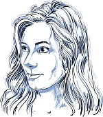 Vector portrait of attractive Caucasian woman with long wavy hair