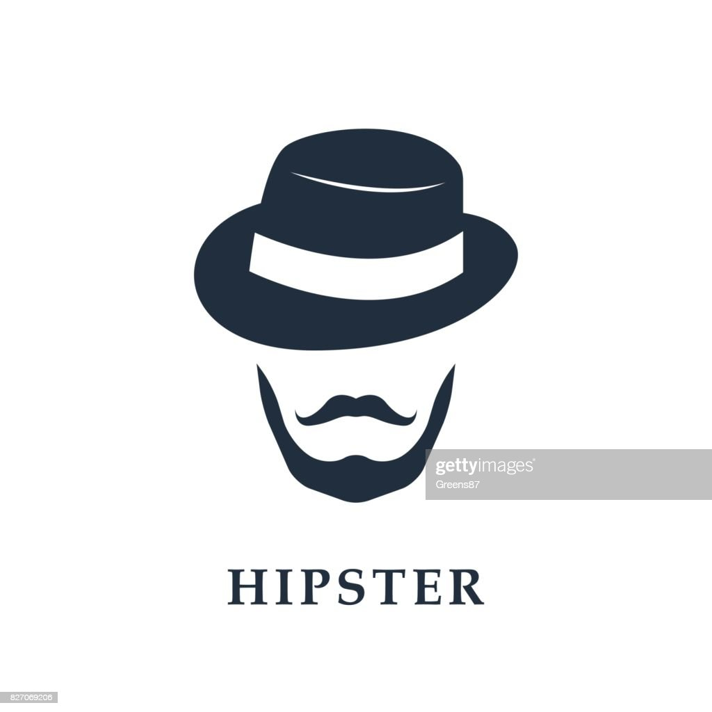 Vector portrait of bearded man wearing hat. Hipster avatar.