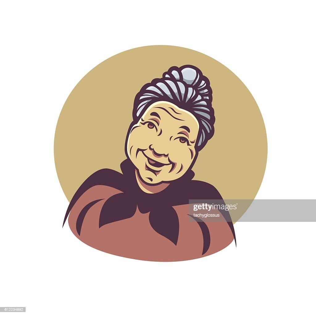 vector portrait of lovely grandmother