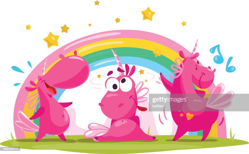 Vector portrait of three flat funny unicorn character