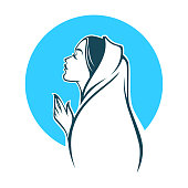 vector portrait of Virgin Mary, label, emblem