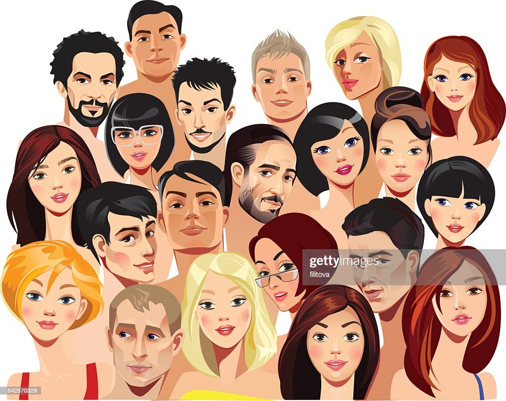 vector portraits of faces of men and women