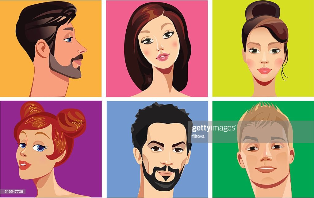 vector portraits of faces people on colored background