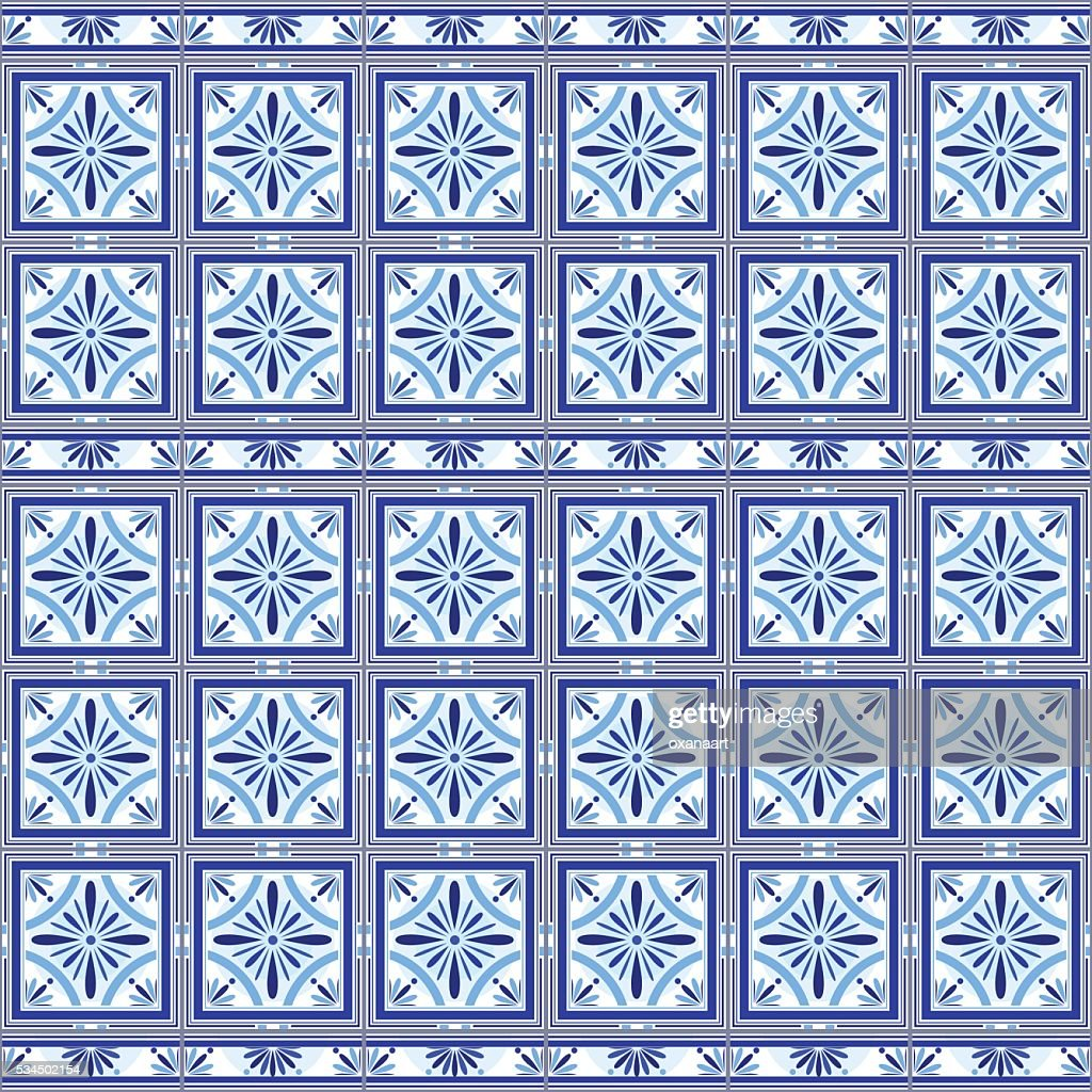 Vector Portuguese Ceramic Tiles Wall With Border Interior Design ...