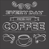 Vector poster. Every day fresh hot coffee
