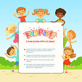Vector poster for children party. Funny different kids in active poses
