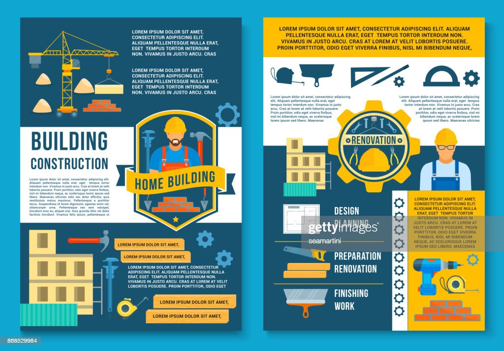 Vector poster for house building construction