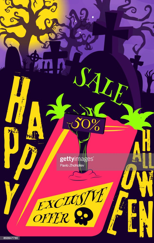Vector poster Halloween sale for your promotion in the store, print or internet