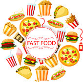 Vector poster of burgers for fast food restaurant