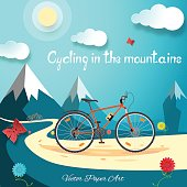 Vector poster of Cycling in the mountains on the gradient blue background with sun, clouds, mountains, flowers and butterflies.